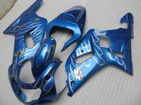 Wholesale Custom Suzuki Gsxr Fairings - New Custom ABS Fairing kit for SUZUKI GSXR600 750 K1 01 02 03 GSXR 600 GSXR 750 2001 2002 2003 nice Fairings set blue silver flame