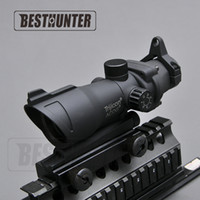 Wholesale Trijicon Green Dot - Trijicon ACOG 1X32 Crosshair Green And Red Dot Scope Tactical Sight Hunting Rifle Scope Shotgun Sight For Arisoft Rifle