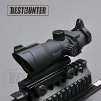 fusils de fusil achat en gros de-Trijicon ACOG 1X32 Crosshair Point Vert Et Rouge Dot Scope Vue tactique Fusil De Chasse Scope Shotgun Sight Pour Arisoft Rifle