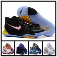 Wholesale Crossover Tie - 2017 Newest Kyrie 3 Irving Glod Tie Dye Bhm Men Basketball Shoes Black Ice White Chrome Crossover Huarache Cavs Kyrie Irving 3s Sports Sneak