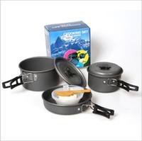 kamp setleri toptan satış-Açık Sofra Taşınabilir Yemek Açık Kamp Tencere 2-3 Kişi Için En Iyi Fit Piknik Pot Taşınabilir Pot Setleri LJJY100