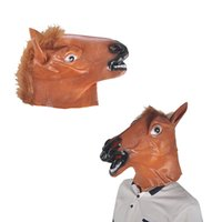 Wholesale Creepy Horse Heads - Full Head Mask Horse Head Mask Creepy Fur Mane Latex Realistic Crazy Rubber Super Creepy Party Halloween Costume Mask New Arrival 0708015