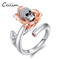 New Trendy Elegant Skeleton Skull AAA Zircon Love Ring Flower Rose Anéis de abertura para mulheres Silver Color Charm Fashion Jewelry Bijoux Gift