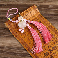 Wholesale Exhaust Pipe Decoration - New car glass pendant double tassel Chinese knot hyacinth bottle with mahogany interior car exhaust pipe plug gourd gifts wholesale