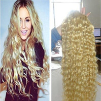 Wholesale Curly European Color 613 - unprocessed virgin brazilian remy hair weave deep Blonde #613 Color Deep Wave 100% Virgin Human Hair Weave Curly
