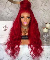Wholesale European Remy Wigs - Pre Plucked Red Body Wave Brazilian Full Lace Remy Human Hair Wigs for Women 16-24'' Fully Hand Tied Wigs