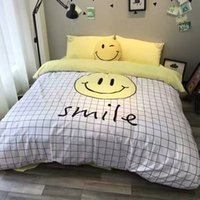 Wholesale Yellow Striped Bedding - 100% cotton fabric burhsed finish Patch embroidered bedding set twin full queen and king size available reactive printing yellow color 18008