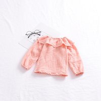 Wholesale Children Chiffon Cute Tops - Everweekend Sweet Girls Ruffles Neckline Pink Tees Tops Cute Toddler Sweet Children Autumn Winter Fashion Blouse Clothing