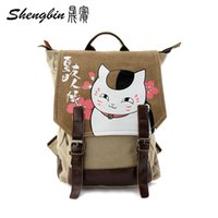 Wholesale Brown Schoolbags - Wholesale- 2016 Anime Manga Natsume Yuujinchou Backpack Canvas Shoulders Bag Children Schoolbags Unisex Canvas Anime Travel Bag 40*29*15cm