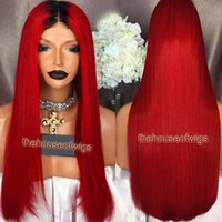 La meilleure qualité 1BTRed Ombre Lace Front Hair Hair Perruques Brazilian Virgin Hair Lace Wigs Two Tone Straight Full Lace Wig Red Color