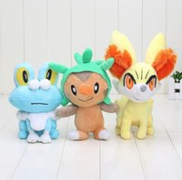 Wholesale Chespin Plush - 3pcs set 7'' - 9'' Anime New Pikachu XY Series Chespin Fennekin Froakie Plush Doll and Toys