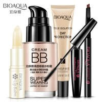 Wholesale Bb Beauty Cream - 5Pcs BIOAQUA Beauty Cosmetics Makeup Collection Kit Set Lip Balm BB Cream Eyebrow Pencil Mascara Cream Isolation Makeup Base 5pcs