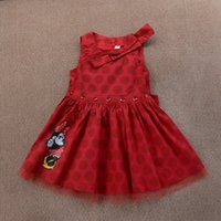 Wholesale Minnie Hooded - 2016 hot selling princess mickey minnie mouse cartoon bow floral red baby dress children girls summer dresses free shipping