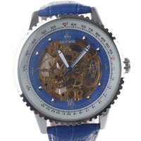 Wholesale Orkina Automatic - ORKINA MG008 Double-Sided Skeleton Automatic Analog Mechanical Men's Wrist Watch - Blue + Silver