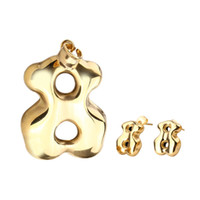Wholesale Coloured Earrings - TL Stainless Steel Bear Jewelry Set For Women 2 Colours Never Fade Spain Brand High Quality