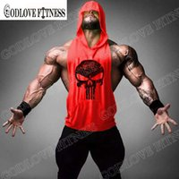 Wholesale Skull Tshirt Wholesale - Wholesale- New Skull Print Mens Fitness Hoody T Shirt Brand Bodybuilding Workout Clothes Terry Cotton Fashion Cool Tshirt Men High Quality