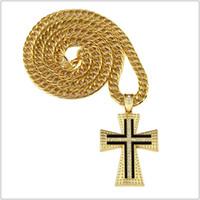 "Wholesale Big Rhinestone Cross Pendants - 31.5"" Catholic Church 18K Gold Plated Jesus Crossing Big Necklaces Rhinestone Chains Men Women bling pendants rock Jewelry Gifts"