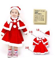 Wholesale Baby Hat Shawl - Baby Girls Christmas Santa Claus Fancy Dress with Shawl Hat Outfit Set Red Color 5 S l