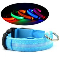 Hot nylon Dog Pet ha condotto il collare di sicurezza notte lampeggiante Glow In The Dark Dog Guinzaglio accessori per cani luminosa fluorescente collari per animali