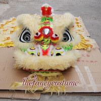 Wholesale Shop Mascot Costumes - Wushu new white yellow Lion Dance mascot Costume made of pure wool Southern Lion Adult size chinese Folk costume party shopping