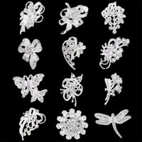 Wholesale Wholesale Small Clear Plates - 30% Off Silver Tone Small Gold Brooches Clear Rhinestone Flower Pin Wholesales Jewelry Wedding Bridal accessories Mix 12 desgins DHL free