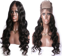 Wholesale burmese silk top wig for sale - Group buy 4X4 Silk Top Full Lace Wig Human Unprocessed Hair Loose Wave inch Long Hair Virgin Brazilian Hair