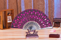 Wholesale Peacock Wedding Supplies - (60 pieces lot) New fashionable sequins peacock fan Handmade dance hand fans Dancing supplies Many colors available