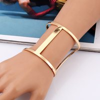 exaggerated spring metal strips - 2017 Hot Sale Vintage Women Ethnic Big Open Cuff Bangles Fashion Metal Strip Statement Open Bracelets Jewelry For Women Gift