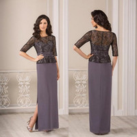 Wholesale Mother Two Piece Dresses - Two Piece Mother Of The Bride Dresses 2017 Elegant Applique Party Dress Applique Tulle And Satin Meterial Evening Wears