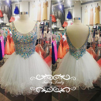 Wholesale Tank Straps Rhinestones - Colored Crystal Rhinestone Sexy Backless Short Homecoming Dresses For Girls Tank Strap Pleat Puffy Ball Gown White Tulle Party Prom 2017