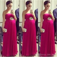 Wholesale Pregnant Woman Art - Hot Sale Fuchsia Empire Pregnant Prom Dresses 2017 Strapless Sleeveless Pleated Maternity Women Evening Formal Dress Red Carpet Celebrity