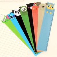 Wholesale Rulers 15cm - Wholesale-5PC 15cm Kawaii Cartoon Animal Plastic Bendable Bookmark Ruler Panda Owl Straight Tool Students Stationery Office School Supplie