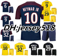 Wholesale Sport T Shirt Quick Dry - 2017 2018 NEYMAR JR soccer jersey kits AURIER T SILVA CAVANI DI MARIA PASTORE Verratti 17 18 neymar jr jerseys sports LUCAS football shirt