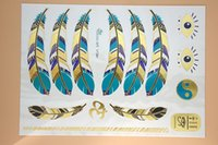 Wholesale Temporary Sexy Glitter Tattoos - Wholesale-VT341 21X15cm Blue Gold Golden Large Tattoo Stickers Indian Feather Flash Tattoos Glitter Temporary Tattoo Sexy Products