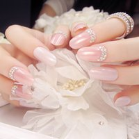 Wholesale Party Long Nails - Wholesale- 24 Pcs Fashion Long Full Cover False Nails pure colour nail tip with small rhinestone Fake Nails For Party use with glue sticker