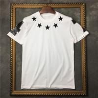 Wholesale Long Sleeves T Shirt Star - 2017 summer fashion brand tag clothing men t-shirt giv star short sleeve t shirt black flocking star 74 women tee cotton tops