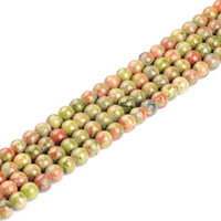 "Wholesale Unakite Loose Beads - High quality natural stone beads Gorgeous Unakite Jasper round loose Beads 15"" Strand 4 6 8 10 12mm DIY Jewelry Making bracelet"