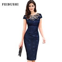 Wholesale Women S Wear Fabric - FEIBUSHI 2017 New Fashion Womens embroidery Elegant Vintage Dobby fabric Hollow out embroidered Ruched Pencil Bodycon Evening Party Dress