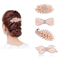 Wholesale Butterfly Crystal Hair Clip - Women Girls Crystal Pearl Hair clips Flower Peacock Bowknot Butterfly Hair Barrette Hairpin Hairgrips Headwear Hair Jewelry Accessories