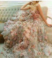 blumendruck organza großhandel-2017 neue Sexy Schatz Spitze Floral Sleeveless Abendkleider 3D Print Organza Eine Linie Sweep Zug Party Prom Kleider Nach Maß