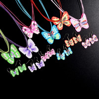 Wholesale Pottery Animals - 5 Set Romantic Butterfly Necklace & Earring Jewelry Sets Soft Pottery For Women Party Jewellery Accessories JNK0340