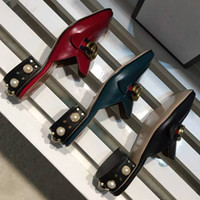 Wholesale Black Block Heels - Brand Red Black Green Womens Slipper Block low heels Pearls Loafers Shoes Square toe Fashion Ladies Casual Shoes Slides
