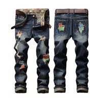 Long special blend pants - Hot Sale Super Special Hole Color Line Fashion Men s Jeans Street Personality Brushing Male Straight Hole Male Jeans Pants SO COOL