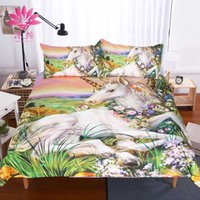 Wholesale Christmas Queen Comforters - muchun Brand Christmas Bedding Sets Unicorn Pating Active Printing And Dyeing 3 pcs Comforter Duvet CoverHome Textiles