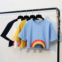 Wholesale Rainbow Crop Top - Summer New Fashion Harajuku Women T-shirt Kawaii Rainbow Print Crop tops Tees Cute Cotton Top Short Sleeve T-Shirts