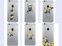 Wholesale Minion Cover For Iphone - Cute Despicable Me Minions Stitch case for iphone 5 5s 6 6s 6plus 6s plus 7 7plus 8 8plus soft transparent Case cover