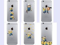 Wholesale Despicable Iphone - Fashion Cute Despicable Me Minions Stitch case for iphone 5 5s 5c 6 6s 6plus 6s plus 7 7plus soft transparent Case cover