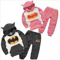 Wholesale European Style Jackets - Kids Batman Clothing Sets Batman Hoodies Pants Superhero Coat Trousers Baby Batman Jacket Pants Jumper Outwear Fashion Outfits Suits B488 10
