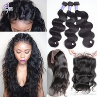 Wholesale Natural Part Hair - 360 Lace Frontal with Bundles Brazilian Human Hair 3 Bundles with Frontal Closure Brazilian Body Wave Virgin Hair with 360 Lace Frontal