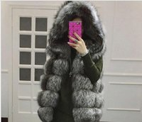 Wholesale Fox Fur Strips - Europe and the United States fall and winter new women's high imitation fox fur hooded vest